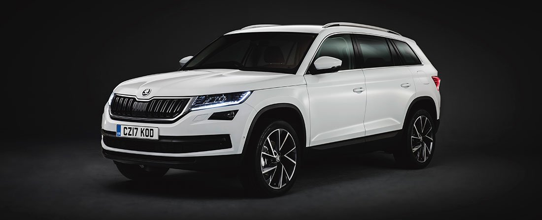 Kodiaq SUV in white on black